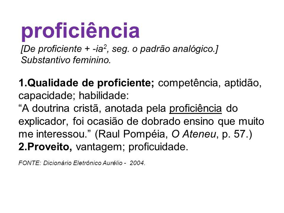proficiência [De proficiente + -ia2, seg. o padrão analógico